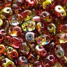 Superduo Beads Magic Red Yellow - 10 grams